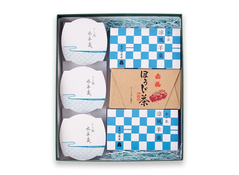 【夏ギフト】水羊羹・涼風羊羹・赤福ほうじ茶 詰合せ ※(クール便)